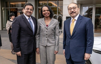 Consul General Mr. Sanjay Panda & Ambassador Mr. Harsh V Shringla with former US Secretary of State Ms. Condoleezza Rice at the US-India Strategic Partnership Forum India in USA