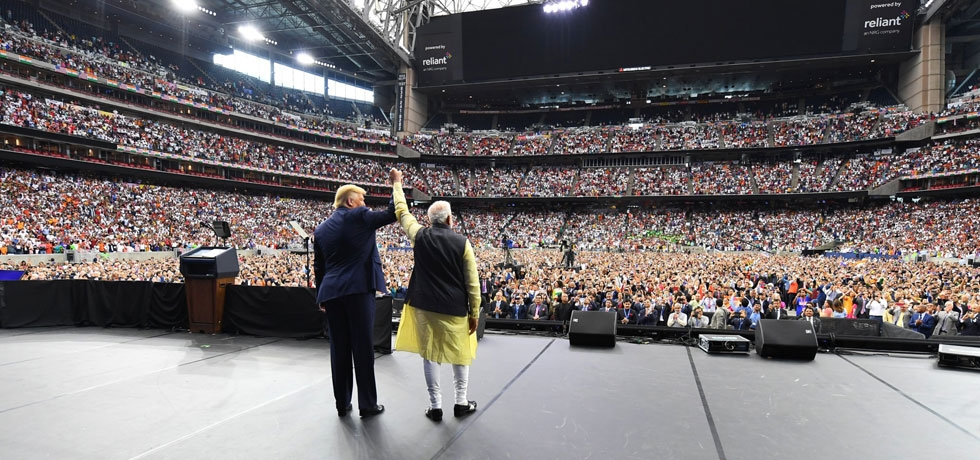 Huge crowd cheers as the Prime Minister and President Trump greet the Indian diaspora at the 'Howdi Modi' in Houston on 22 Sep 2019