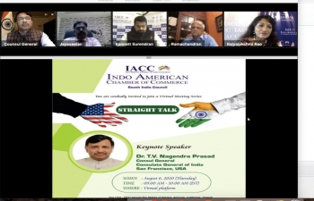 Consul General Dr. TV Nagendra Prasad  had an engaging discussion with India America Chamber of Commerce (IACC) South India Council on exploring new trade and investment opportunities to further strengthen India US bilateral economic relations on August 6, 2020.