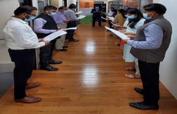 Consul General Dr. TV Nagendra Prasad administered the pledge to all India based officials of the Consulate today on the occasion of Sadbhavna Diwas on August 20, 2020