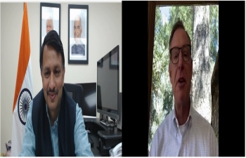 Virtual interaction between Consul General Dr. T.V. Nagendra Prasad and Representative Scott Peters of California on October 6, 2020. The discussion was focused on India US bilateral relations, alternative non-conventional energy resources and the vibrant Indian community in San Diego California.