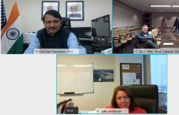 Consul General Dr. T.V. Nagendra Prasad and Alaska Governor Dun Leavy held a virtual meeting to discuss prospects and areas of cooperation for strengthening trade and investment, keen collaboration in Energy & Education between India and Alaska. 15th December 2020. It was agreed to further discuss matters pertaining to education and energy.