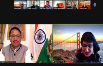 Consul General Dr. T.V. Nagendra Prasad joined the virtual celebration of the 20th Annual Unity dinner 2021 of the Indo-American Community Federation (IACF-USA) discussing the significance of unity in diversity alongside with Hon'ble Congressman & India Caucus Vice Chair Mr. Ro Khanna, Fremont Council Member Raj Salwan, Assembly Member Bill Quirk and other distinguished guests. Special thanks to Mr. Jeevan Zutshi for organizing the event on annual basis.