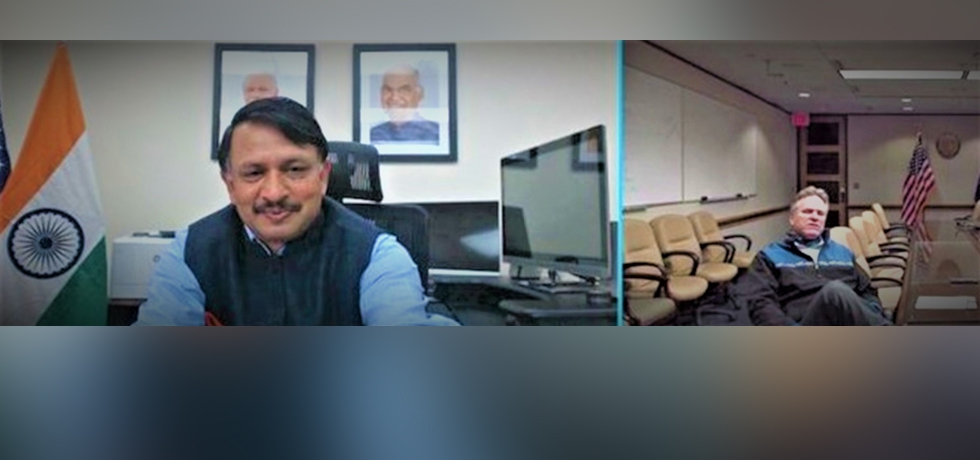 Alaska Governor Dun Leavy and Consul General Dr. T.V. Nagendra Prasad in a virtual meeting.