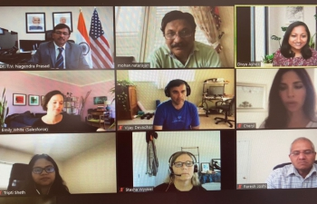 At a virtual meeting Consul General Dr. T.V. Nagendra Prasad had a briefing from Salesforce team sharing their company's recent and ongoing Covid relief efforts in a scientific approach and their expanding presence in India.