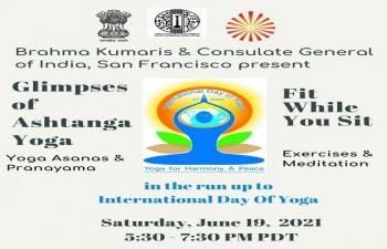 International Day of Yoga: Glimpses of Ashtanga Yoga on Saturday, June 19, 2021 5:30PM
