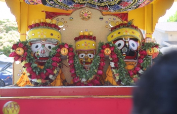 Consul General Dr. T.V. Nagendra Prasad attended the 'Jagannath Ratha Yatra Utsav' organized at Fremont Hindu Temple and Jagannath Mandir Fremont on July 11, 2021. The Utsav was well attended and celebrated with the tradition. Fremont Mayor Lily Mei and Fremont district 6 Councilmember Teresa Cox were present on the occasion to celebrate India's most important annual festival.