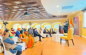 """Consulate General of India – San Francisco organized a lecture on """"Rebuilding India"""", a NITI Aayog and University of California - Berkeley initiative by Prof. Solomon Darwin to commemorate the 'Azadi Ka Amrit Mahotsav' on the occasion of the 75th Independence Day of India. Padma Bhushan Dr. Paul Raj Arogyaswami, inventor of 5G also delivered his remarks on potential for India in semi-conductors, IT & Innovation. It was organized strictly following the renewed Covid restrictions. Consul General Dr. T.V. Nagendra Prasad delivered the Key note address on the occasion."""