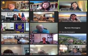 """Consul General Dr. T.V. Nagendra Prasad addressed a virtual event of the Rotary Club of Cupertino on """"India–US Relations"""". Members and participants engaged in a lively Question and Answer session exploring the business and investment opportunities in India. Cupertino has established sister city relations with Bhubaneswar, Odisha."""