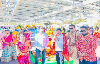 Ambassador Dr. T.V. Nagendra Prasad appreciated the Telangana American Telugu Association (TATA) for the colourful 'Bathukamma' celebrations in Fremont California at Festival of Globe (FOG) Diwali event in a traditional way. Beautiful 'Bathukamma' with colourful flowers with typical song and dance were the highlights of the event. It became a home away from Home for those who celebrated the festival at the venue. Consul General appreciated Srinivasa Mannapragada and his team.
